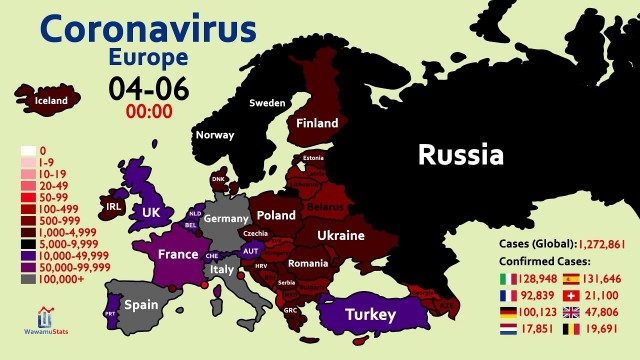 The Spread of Coronavirus in Europe (January 28 to April 6)