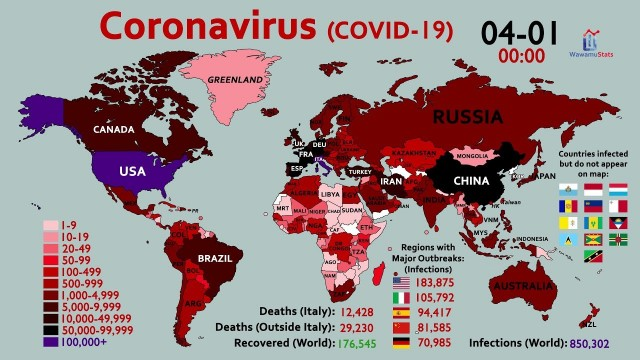 World Map Timelapse of the Coronavirus (January 20 to April 1)